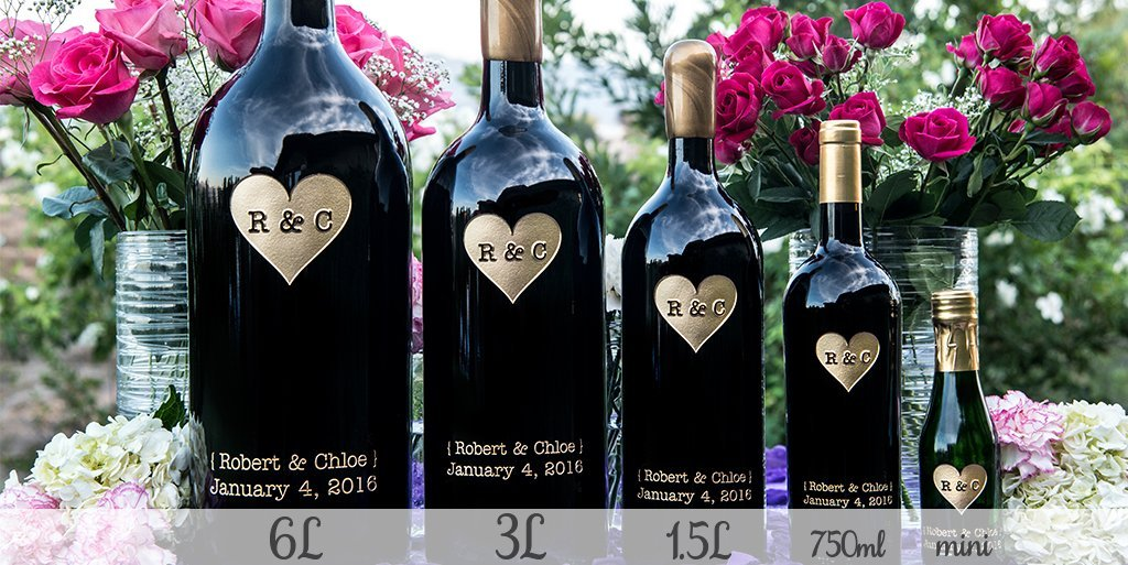 Big to Mini Etched Wines for Your Wedding