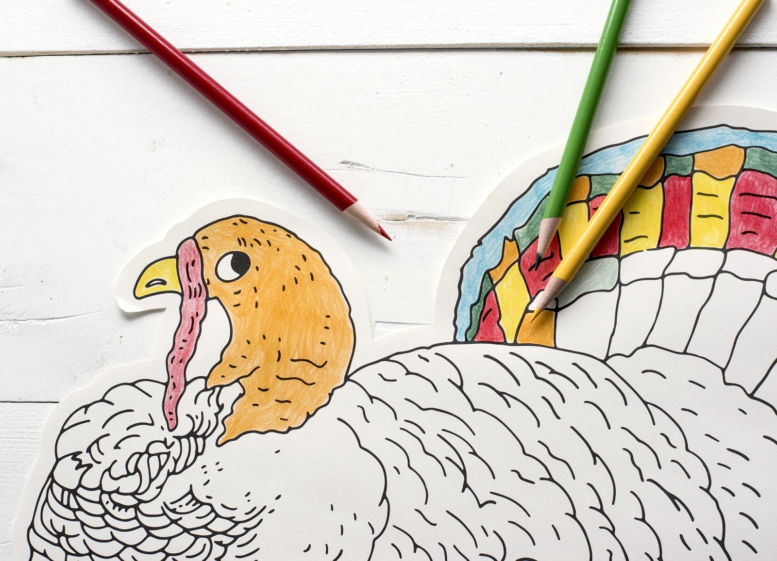 Coloring Turkey Die Cut Placemat Sheets