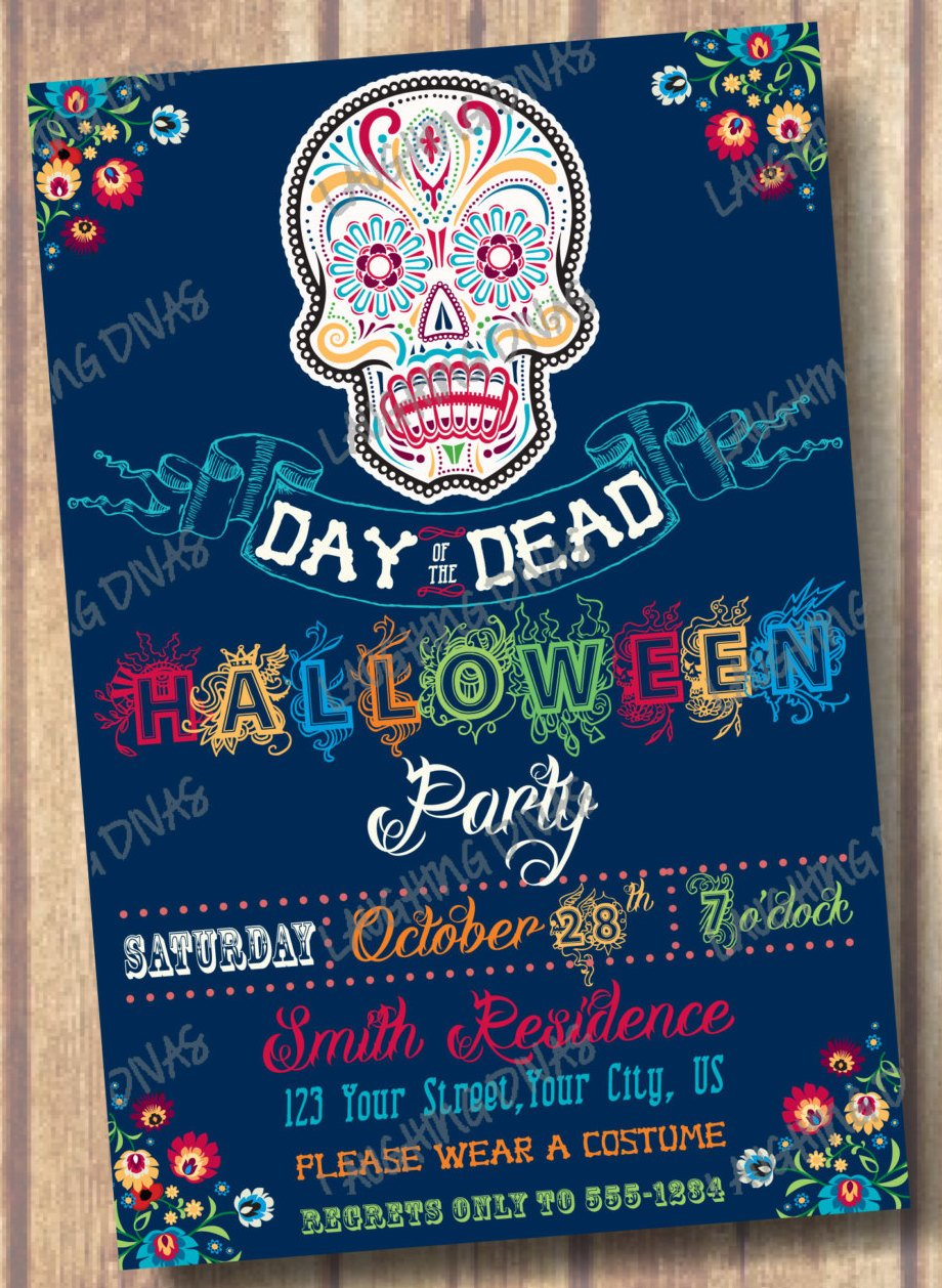 day of the dead printable halloween invitation