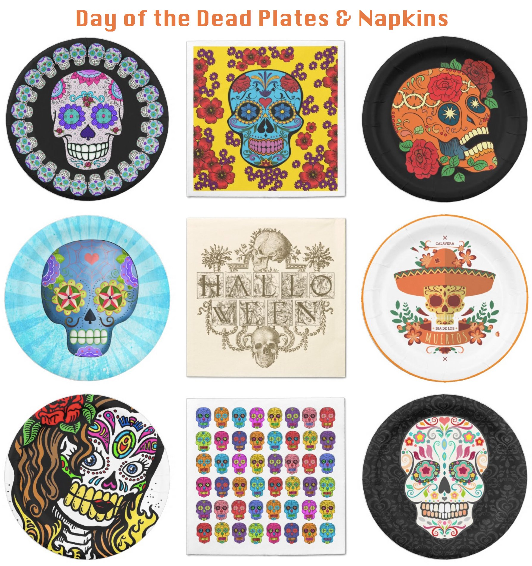 Day of the Dead Plates and Napkins