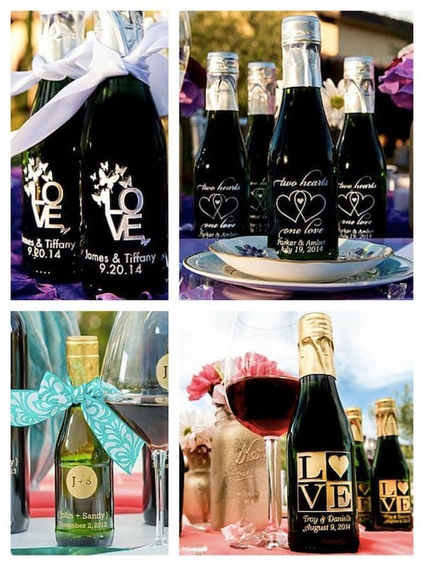 Etched Wine Bottle Party Favors