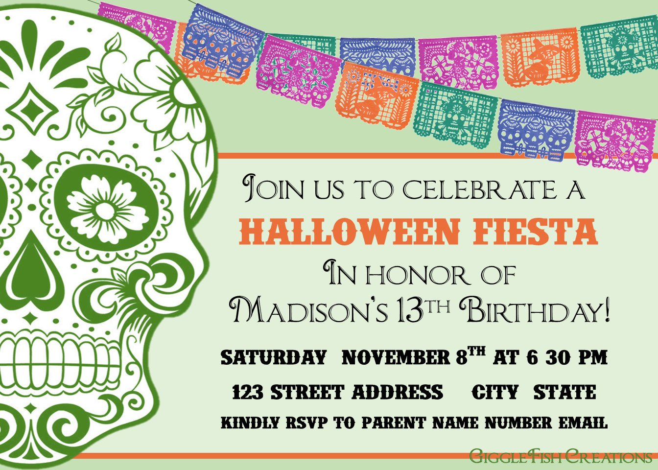 Halloween or Day of the Dead Party Invitations