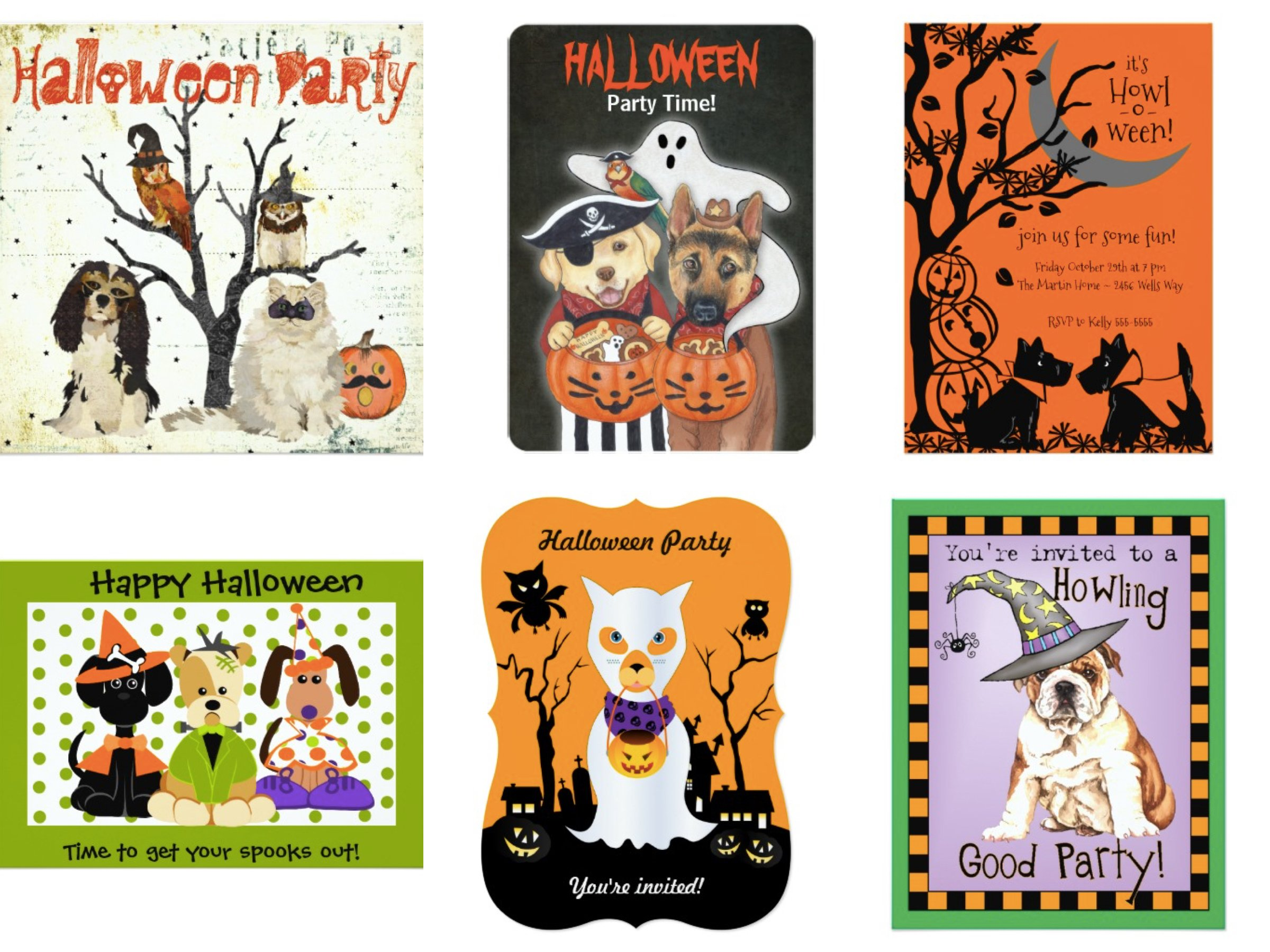 Howl-O-ween Bring Your Pet Halloween Party Invitations