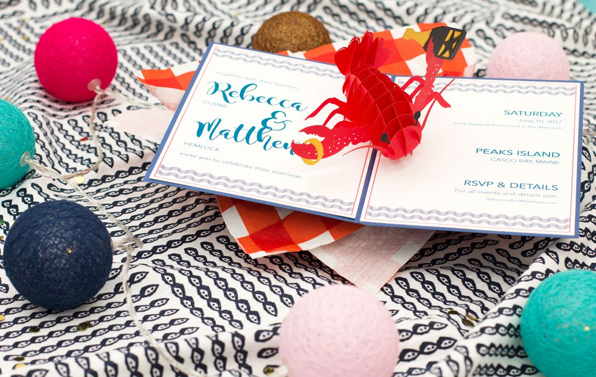 Lobster Nautical Theme Pop-Up Wow Wedding Invitation