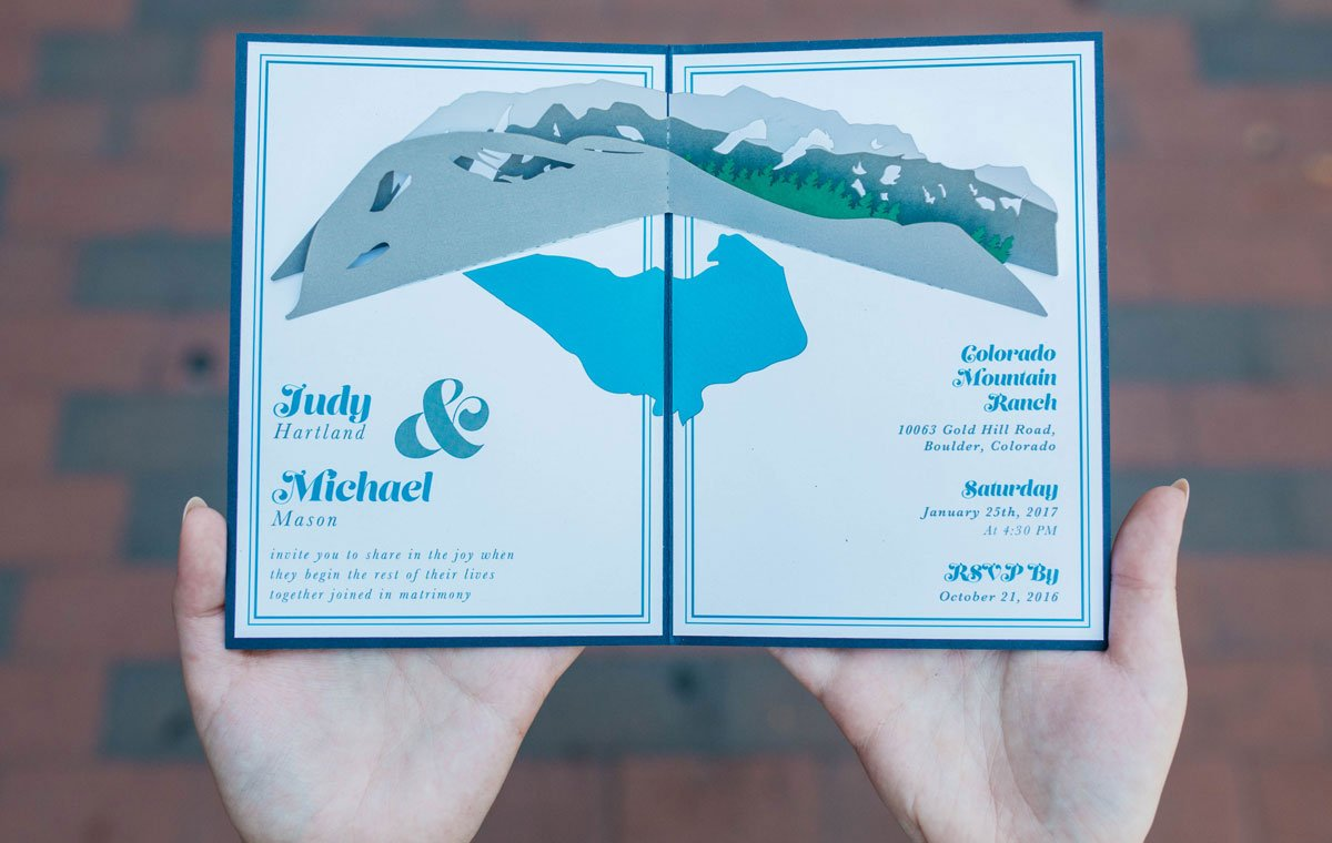 Mountain Ranch Pop-Up Wow Wedding Invitation
