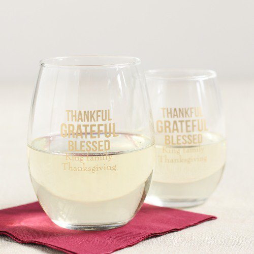 Personalized Thankful Grateful Thanksgiving Stemless Wine Glass