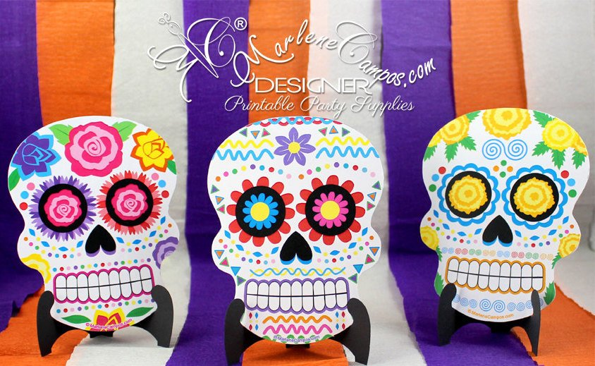 Printable Sugar Skull day of the Dead Invitations