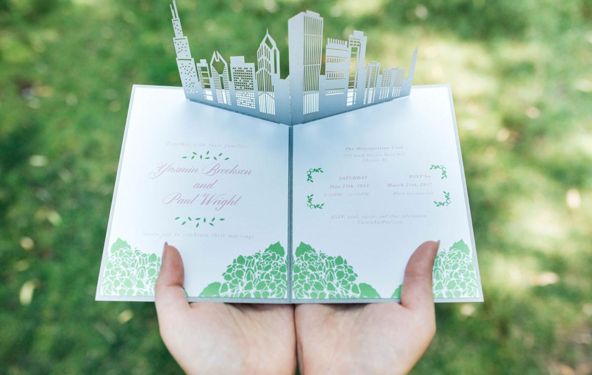 Skyline Pop-Up Wow Wedding Invitation