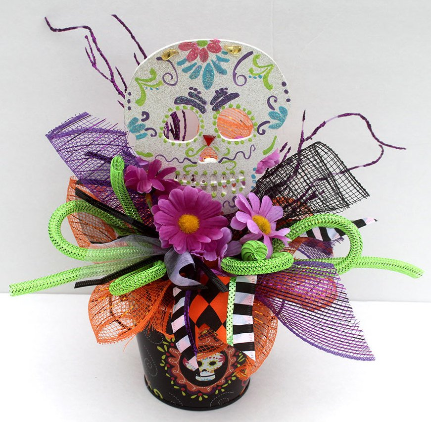 Sugar Skull Halloween Centerpiece Arrangement