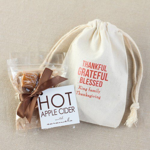 Apple Cider Drink Mix in Personalized Natural Cotton Thanksgiving Favor Bag