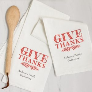 Thanksgiving Give Thanks Tea Towel