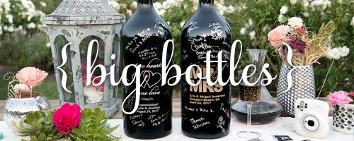 Etched Wine Bottle Guestbook Keepsake
