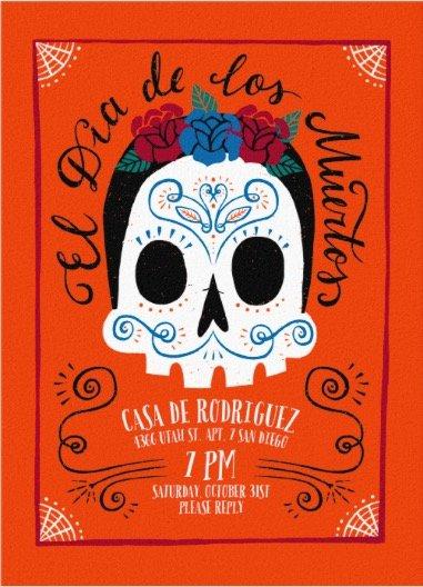 festive catrina dia de los muertos online invitations