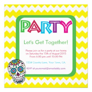 Sugar skull colored party invitation