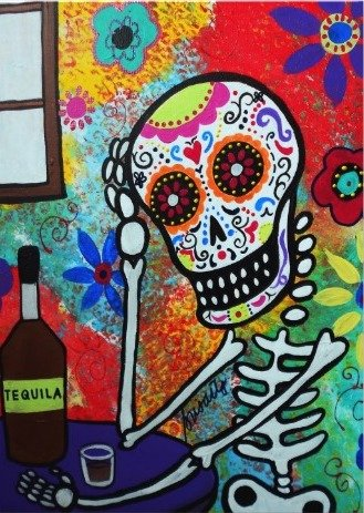 TEQUILA NIGHT DAY OF THE DEAD INVITATION