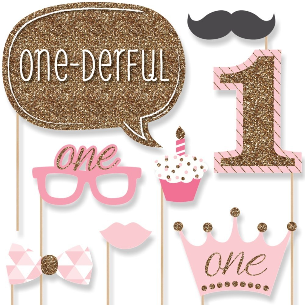 1st Birthday Girl - Fun to be One - Photo Booth Props Kit