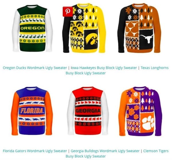 College Sports Team Ugly Sweaters