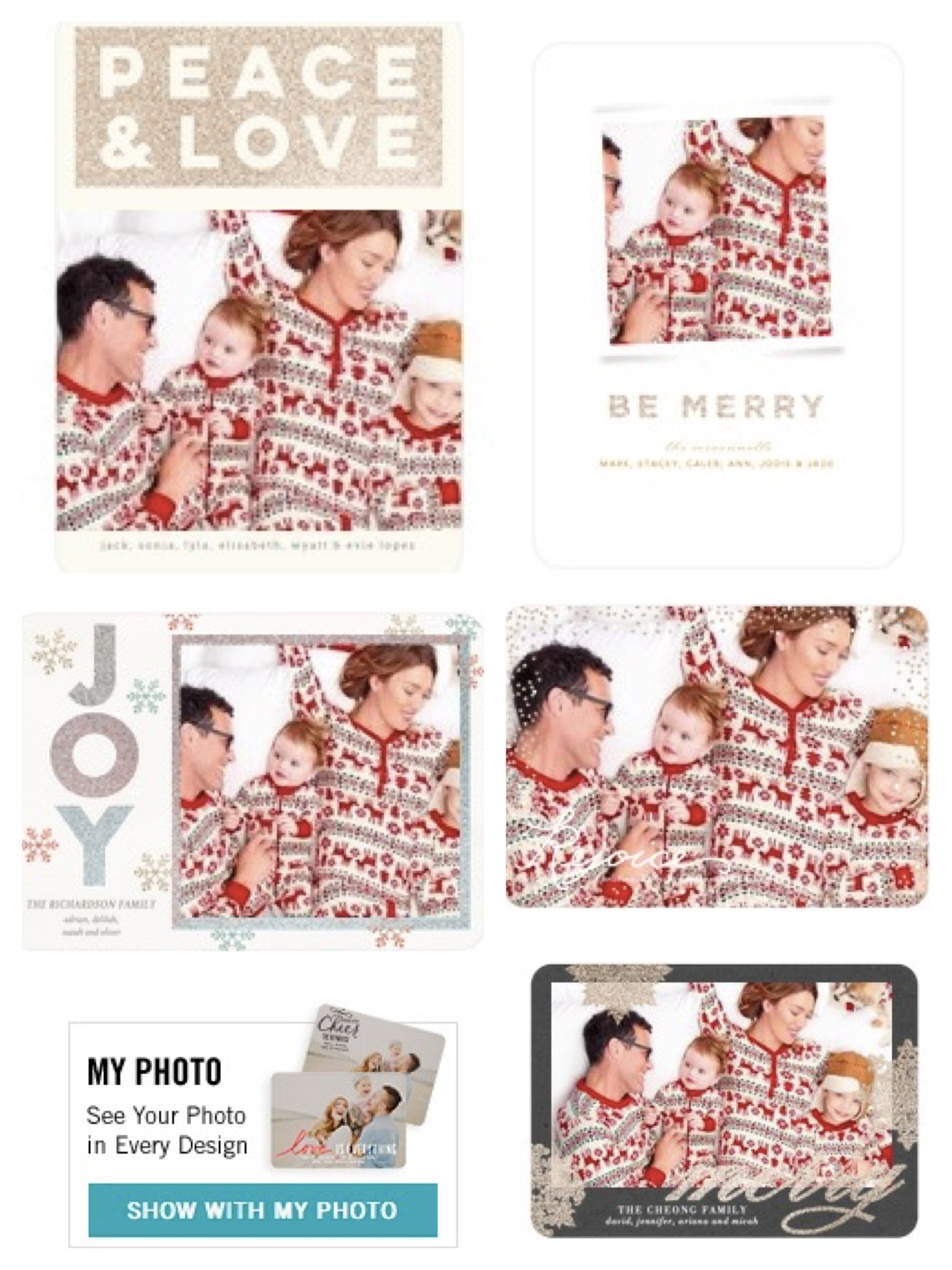 Dear Deer Matching Family Pajamas Shown in Tiny Prints Premium Glitter Holiday Cards