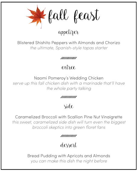 Fall Feast Dinner Party Menu