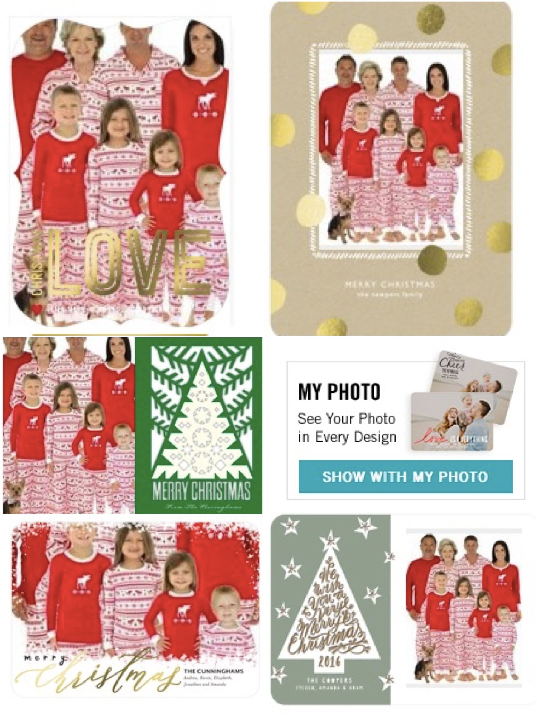 Family Matching Moose Pajamas in Tiny Prints Holiday Cards