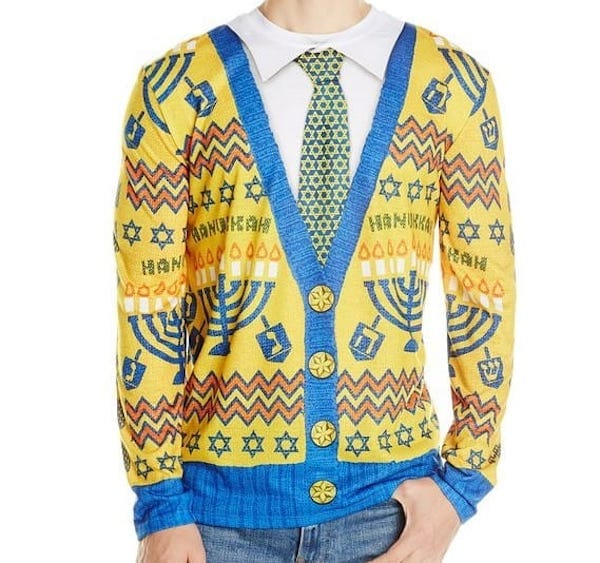 Faux Real Mens Ugly Hanukkah Sweater