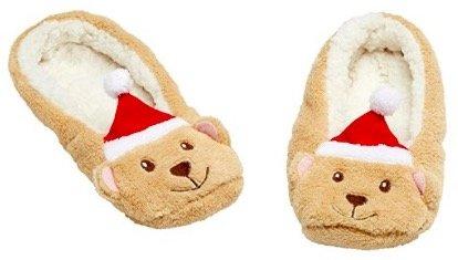 Fleece and Sherpa Teddy Bear Slippers
