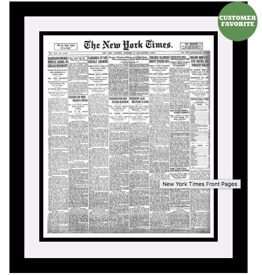 Framed Front Page New York Times Reprint