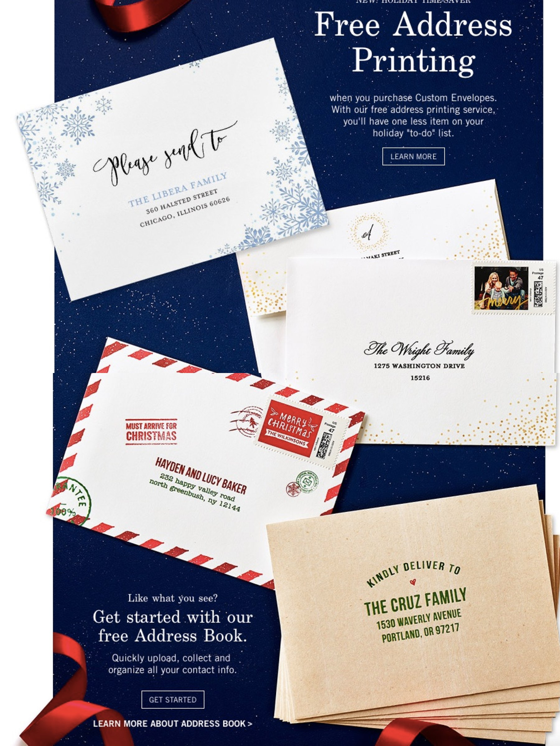 It's Holiday Card Time Free Address Printing for Holiday Cards