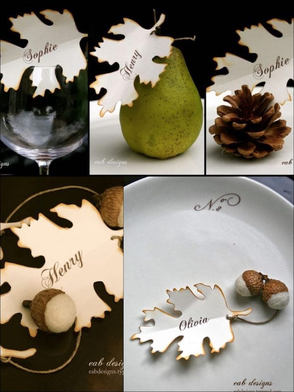 Free Printable Fall Leaf Thanksgiving Place Cards