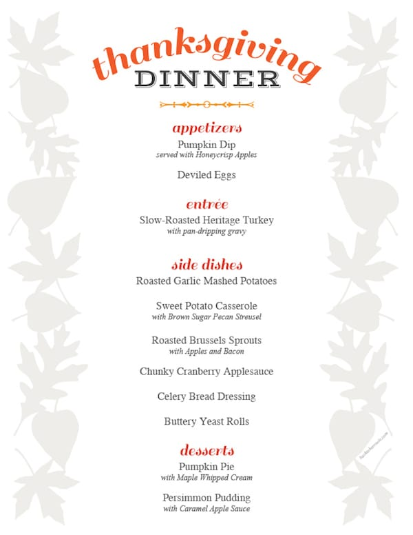 Free Printable, Editable Thanksgiving Dinner Menu