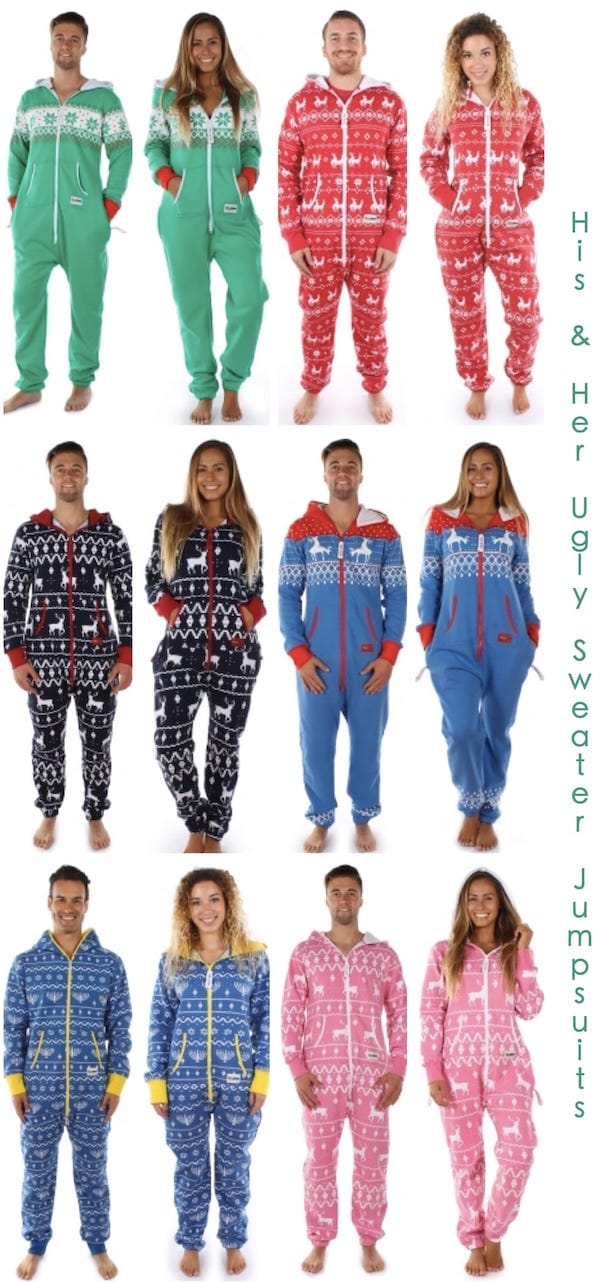 His and Her Ugly Sweater Jumpsuits