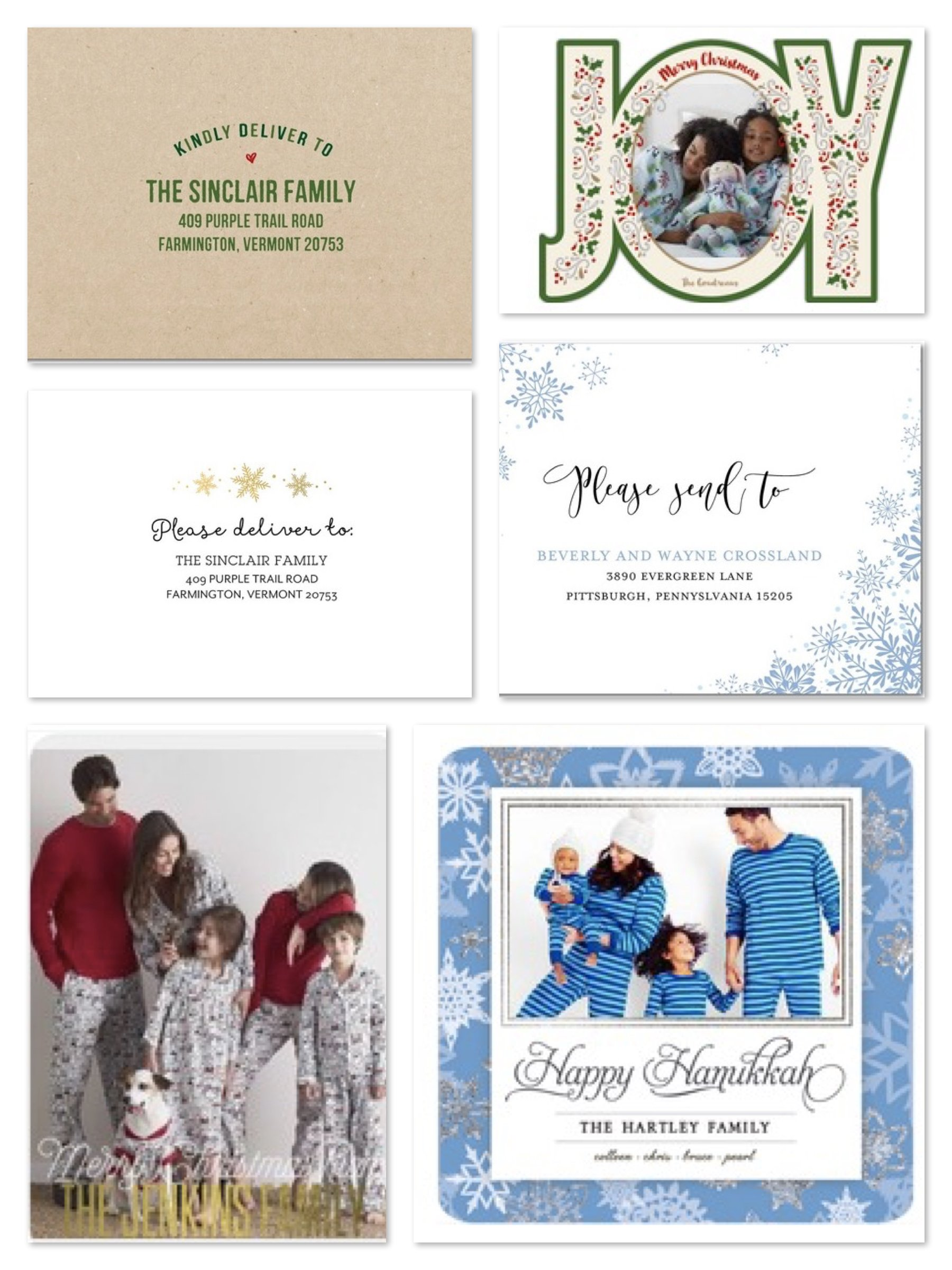 Christmas & Hanukkah Cards Paired with Custom Envelopes