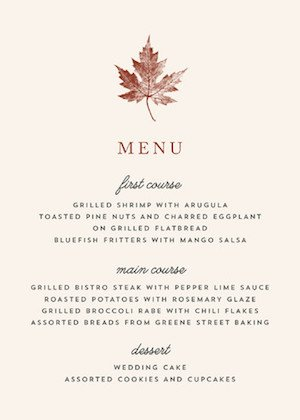 Leaf Print Thanksgiving Table Menu