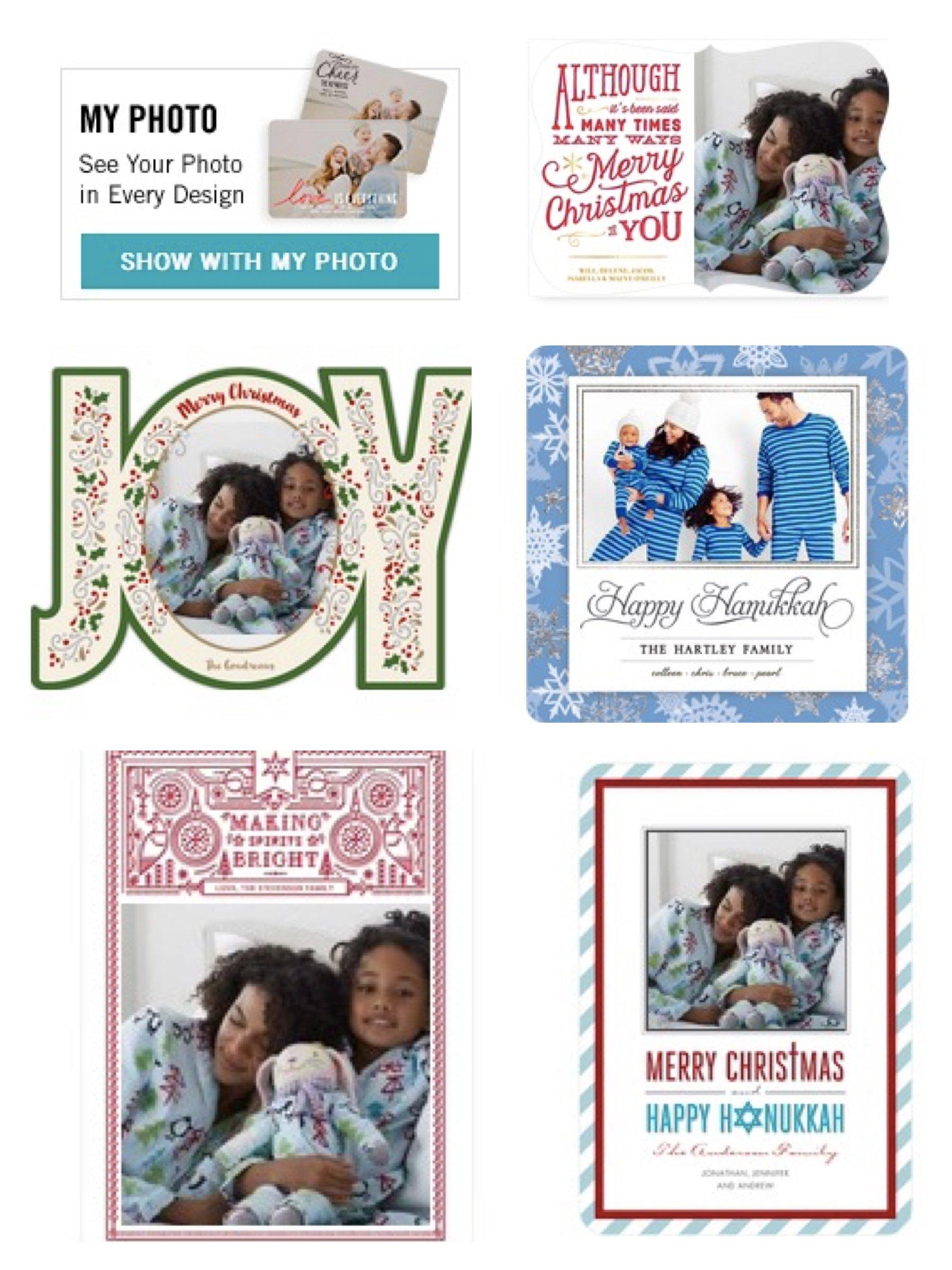 Matching Family Holiday Pajamas in Tiny Prints Christmas and Hanukkah Cards.