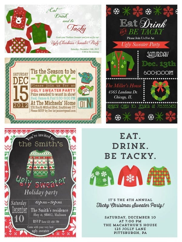 Printable Ugly Sweater Holiday Party Invitations
