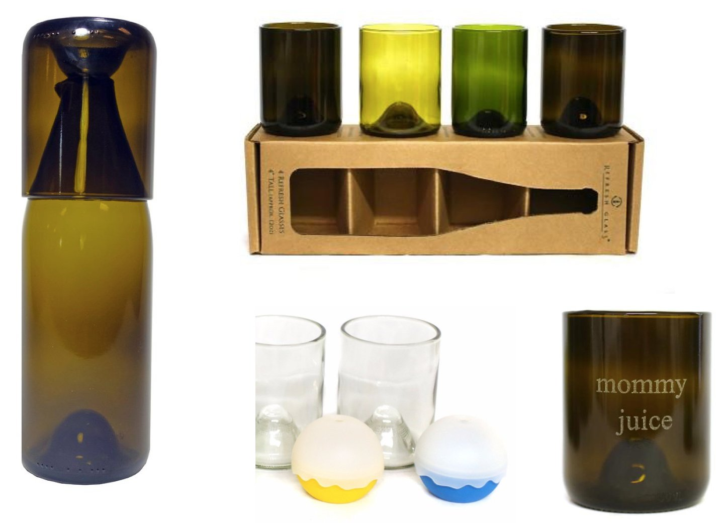 Refresh Glass Re-Purposed Wine Bottle Gifts
