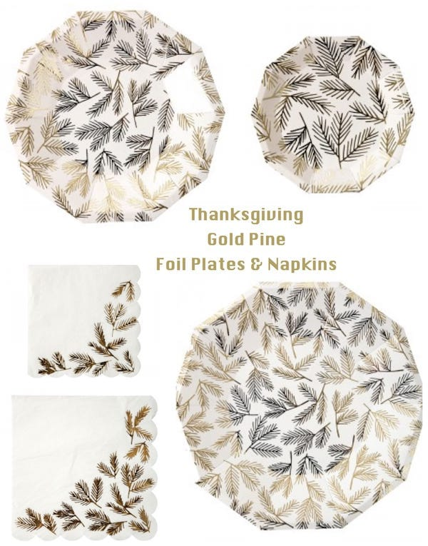 Thanksgiving Gold Pine Foil Plates and Napkins