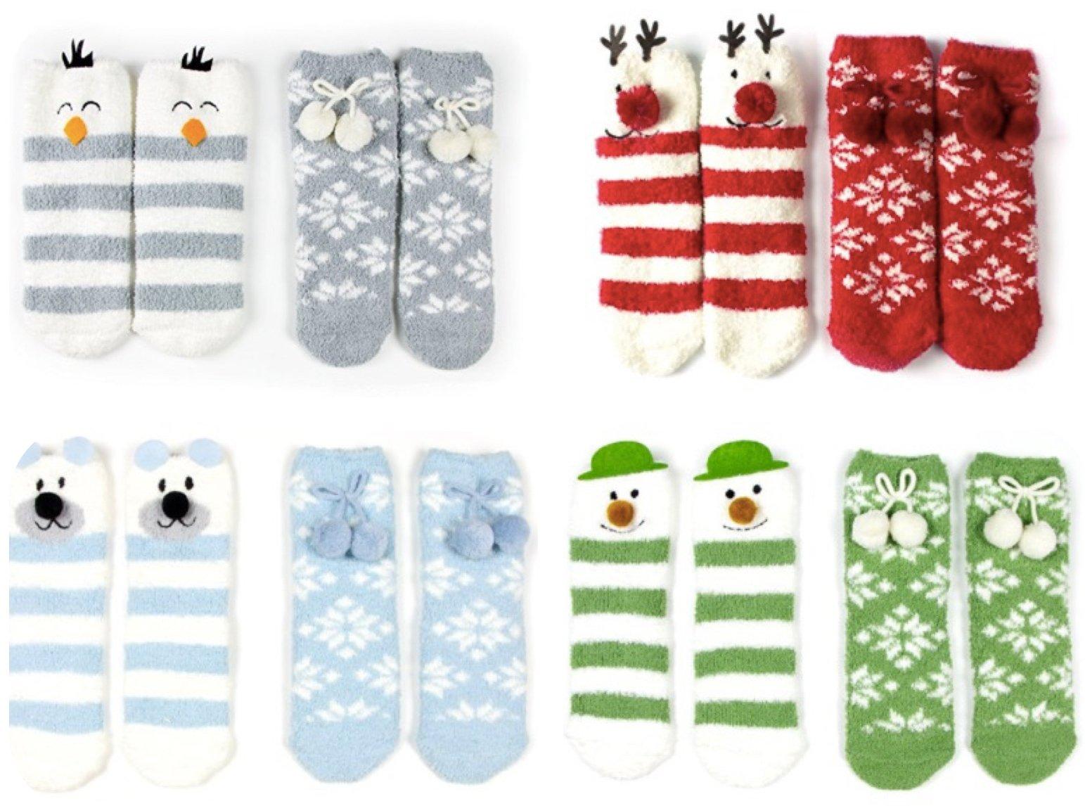 Winter Animal Womens Christmas Fuzzy Socks Set