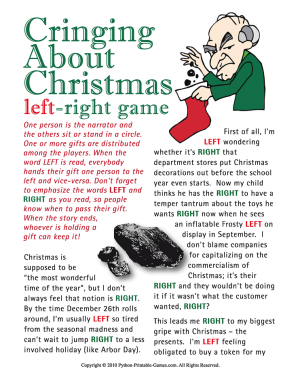 Cringing About Christmas Printable Left Right Game