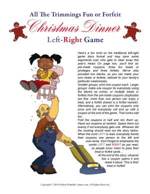 Christmas Dinner Left Right Printable Game
