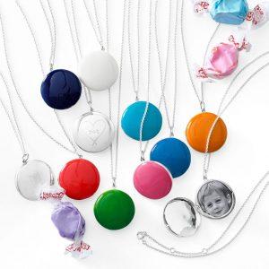 Enamel Locket Necklace, Valentines Day Stocking Stuffers