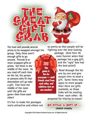 Gift Grab Christmas Gift Exchange Printable Games