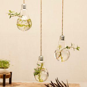 Hanging Light Bulb Shape Glass Vase