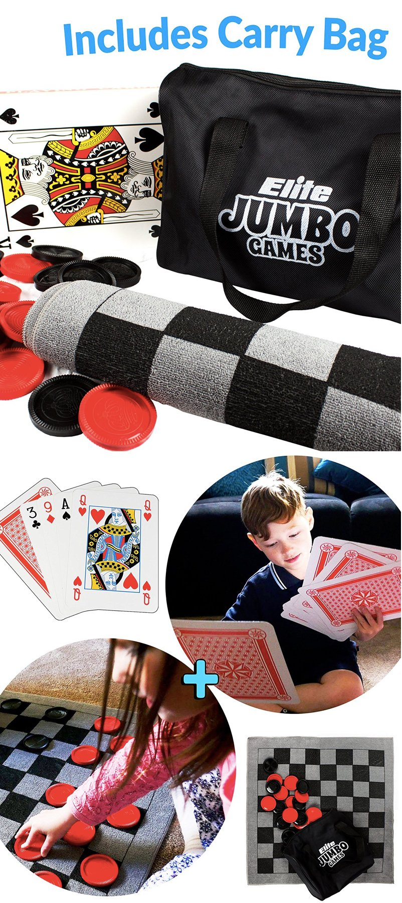 Large Playing Cards, Jumbo Checker Rug Game and Tic Tac Toe all in 1 Game Bag with Carrying Case