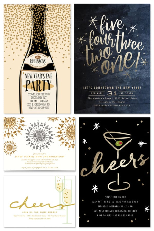 new years eve all that glitters invitations
