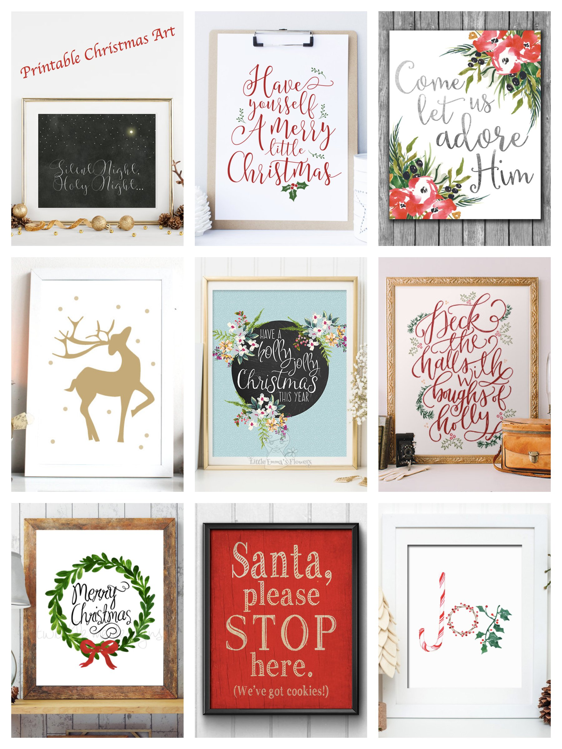 Printable Christmas Art, Printable Christmas Prints, Printable Christmas Decor