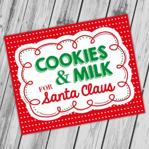 Printable Cookies and Milk for Santa Sign