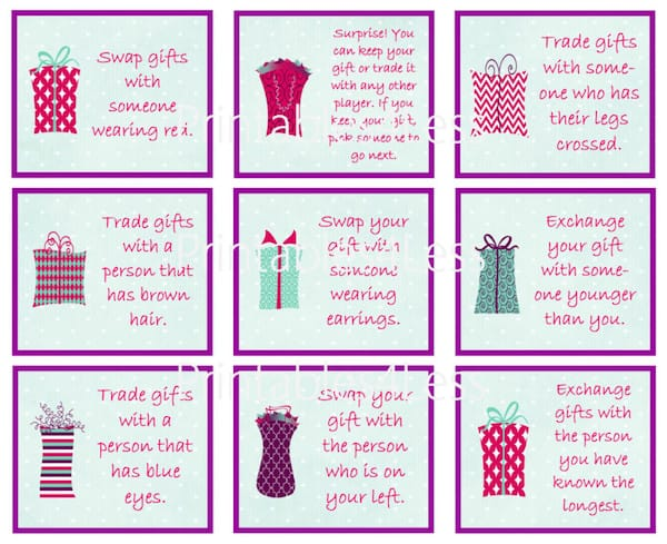 Christmas Gift Exchange Dice Game Printable.Holiday Gift Exchange Games Printable Games