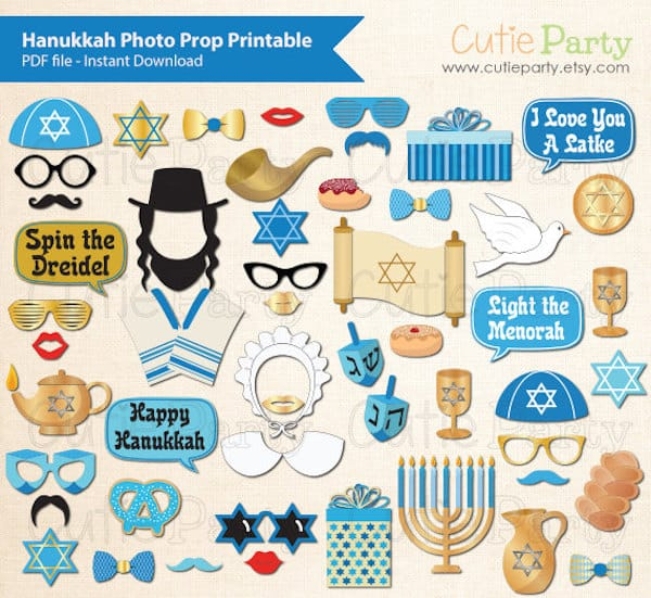 Printable Hanukkah Photo Booth Props