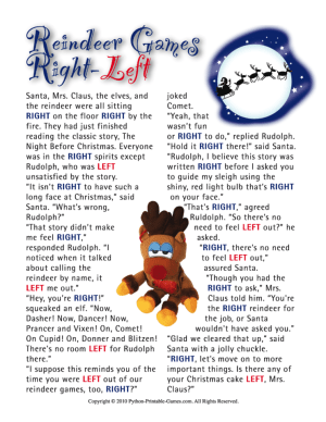 Reindeer Games Right Left Printable Christmas Game